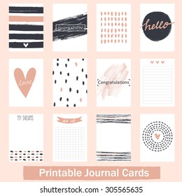 Set of Vintage Creative Cards with Hand Drawn Textures. Templates for Placards, Posters, Flyers and Banner Designs, Printable Journals Card. Vecto