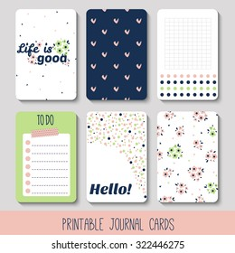 Set of Vintage Creative Cards with Hand Drawn Polka Dots and Flowers Textures. Templates for Placards, Posters, Flyers and Banner Designs, Printable Journals Card. Vector