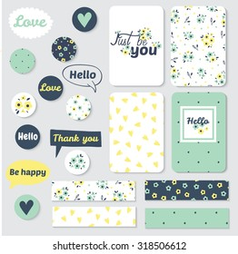 Set of Vintage Creative Cards, tape, stickers, labels with Hand Drawn Polka Dots Textures. Templates for Placards, Posters, Flyers and Banner Designs, Printable Journals Card