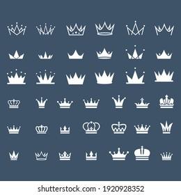 set of vintage crown logo design vector