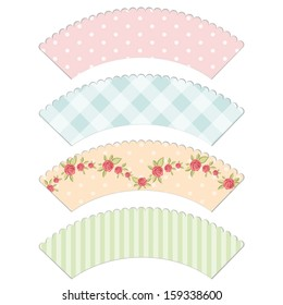 Set of vintage cupcake wrapper templates with roses in shabby chic style isolated on white