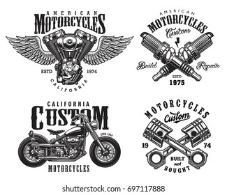 Set of vintage custom motorcycle emblems, labels, badges, logos, prints, templates. Layered, isolated on white background. Easy rider.