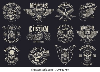 Set of vintage custom motorcycle emblems, labels, badges, logos, prints, templates. Layered, isolated on dark background Easy rider