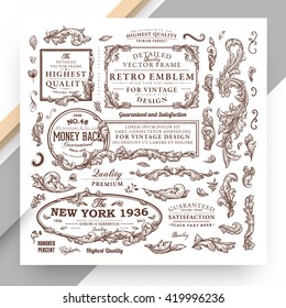 Set of Vintage Decorations Elements. Flourishes Calligraphic Ornaments and Frames. Retro Style Design Collection for Invitations, Banners, Posters, Placards, Badges and Logotypes.