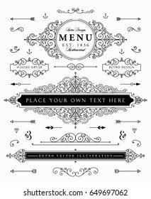 Set of Vintage Decorations Elements with Flourishes Calligraphic Ornaments and Frames. Retro Style Design Collection for Posters, Placards, Invitations, Labels, Badges and Logotypes. Eps10 vector.