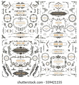 Set of Vintage Decorations Elements.Flourishes Calligraphic Ornaments and Frames
