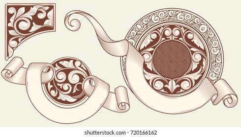 Set of vintage decorative design elemnts