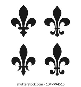 Set vintage decorative elements. Icons heraldic lilys. Black signs isolated on white background. Vector illustrated