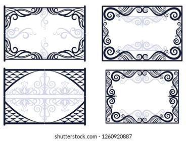 Set Vintage Decorative Frames with Abstract Floral Pattern, Black and Grey Contours Isolated on White Background. Vector