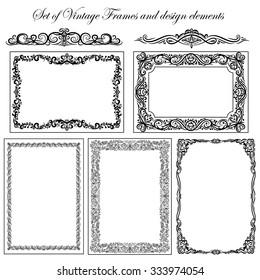 Set of Vintage decorative frames and borders