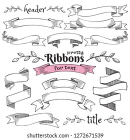 Set of vintage decorative hand drawn vector ribbon flags. Empty banner for old looking design of label, text header,  title, calligraphy or lettering. Useful pretty tool, illustration in doodle style.