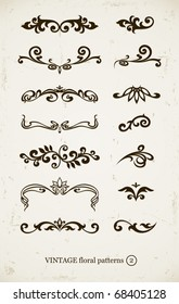 set of vintage decorative patterns on grunge backgound. vector illustration