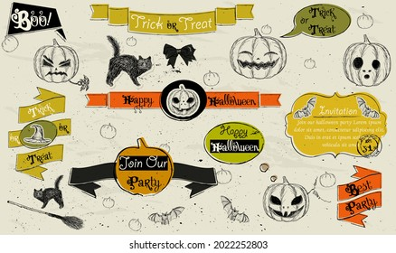 Set of vintage deign elements about Halloween.  Black and orange colors. See more in my Halloween collection. Vector illustration EPS8