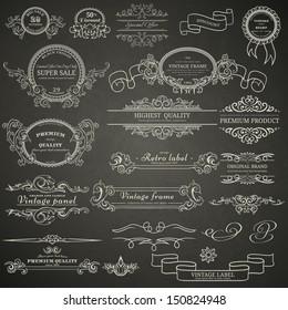 Set of vintage design elements on blackboard