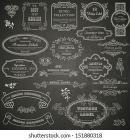 Set of vintage design elements on blackboard