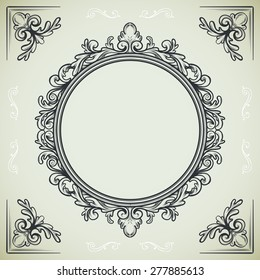 set of vintage design elements, round frame and decorative corners