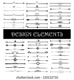 Set of vintage design elements - Vector illustration isolated on white. Calligraphic design elements and page decoration