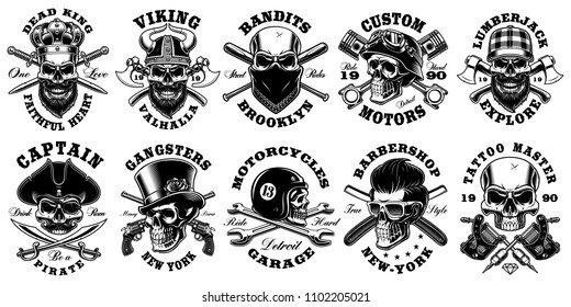 Set of vintage different skulls on white background. Shirt designs with king, viking, lumberjack, pirate and many others. Text is on the separate layer.