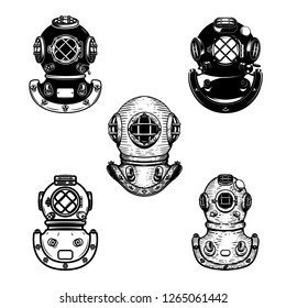 Set of vintage diver helmets. Design element for logo, label, emblem, sign. Vector illustration