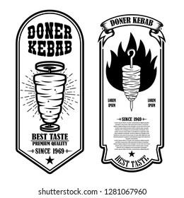 Set of vintage doner kebab flyer templates. Design element for logo, label, emblem, sign, badge. Vector illustration