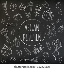 Set of vintage doodles, hand drawn rough simple sketches on chalkboard of different kinds of vegetables. Vector freehand illustration isolated on green background.