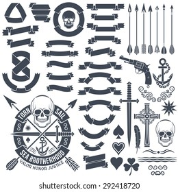 Set of vintage elements to create logos. Pirate skull emblem. Heraldic ribbon banners. Cross, dagger, star, pistol, clover, anchor, arrows.