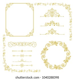 Set of vintage elements. Frames, dividers for your design. Golden Components in royal style. Elements for design menus, websites, certificates, boutiques, salons, etc. Making your logo and monogram.