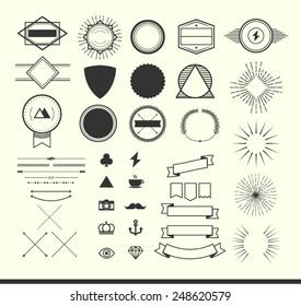 set of vintage elements for making logos, badges and labels, vector illustration