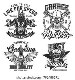 Set of vintage emblems, logos, badges, template with motorcycle, engine parts and biker's skull. Vector illustration.