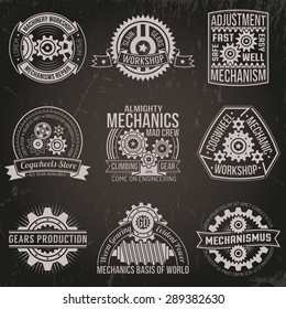 A set of vintage emblems with mechanisms, ribbons, banners. Logo of gears on a dark background. Scratches on a separate layer.