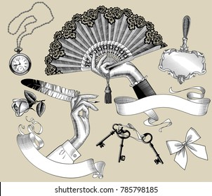 Set of vintage engraving stylized drawings of woman's hands and accessories. Vector illustration.