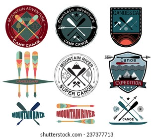 Set of  vintage expedition labels and logo.Canoe Journey logotype sign. Expedition on a mountain river sign. Kayak and canoe sign logo. To travel by boat in the mountains.