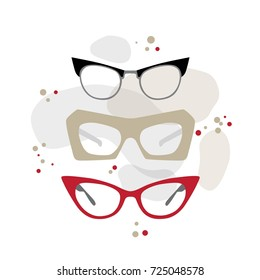 Set of vintage fashion glasses. Vector illustration. Fashion accesories in 50s style