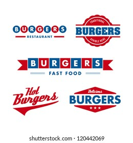 set of vintage fast food restaurant signs, panel, badge and label