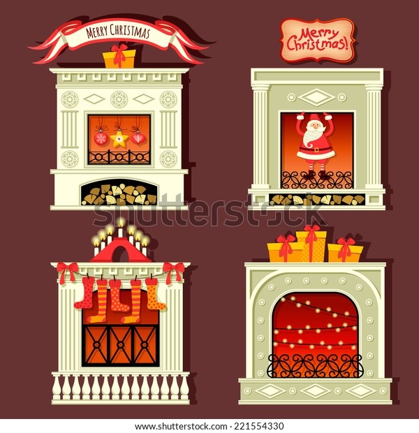 Set with vintage fireplaces. Merry Christmas!