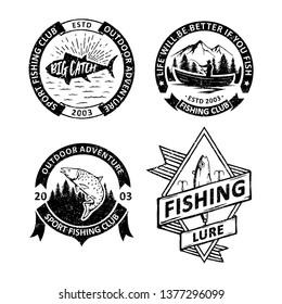 Set of vintage Fishing badges labels, emblems and logo
