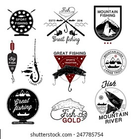 Set of vintage fishing logo, labels, emblems and designed elements