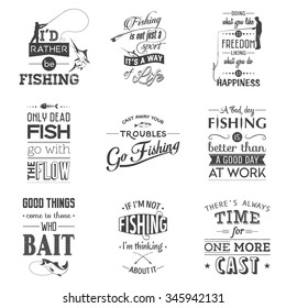 Set of vintage fishing typographic quotes. Grunge effect can be edited or removed. Vector EPS10 illustration.