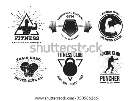 edec3ec6e0c5ce Set Vintage Fitness Logos Signs Labels Stock Vector (Royalty Free ...