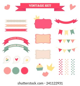 Set of vintage flat isolated elements: labels, ribbons, flags, heart, lips, cake, crown. Vector EPS8