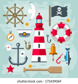 Set Of Vintage flat vector Retro Nautical Elements. Lighthouse.