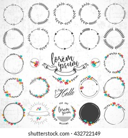 Set of Vintage Floral and Natural Round Badges on Grungy Background