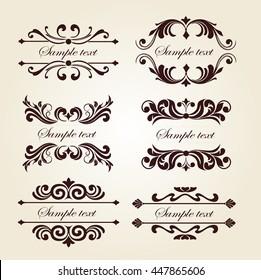 Set of Vintage Floral Ornament Elements - Decorative text frames
