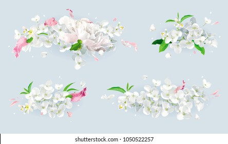 Set of vintage floral vector bouquets: pink Tulips, white Peonies, Apple blossom. Botanical drawing in watercolor style for greeting cards, flower wedding invitations, spring summer sales.