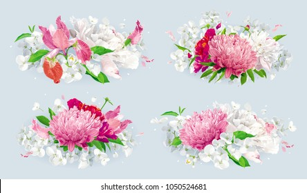 Set of vintage floral vector bouquets: pink Chrysanthemums, Tulips, red Peonies, Apple blossom. Botanical drawing in watercolor style for greeting cards, flower wedding invitations, spring summer sale