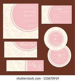 Set of vintage floral wedding invitation cards. Vector illustration
