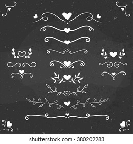 set of vintage flourishes, vector romantic flourishes and dividers with hearts, Valentine's day romantic decorations