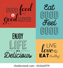 Set of vintage food quotes in colorful designs ideal for restaurant or gourmet business. EPS10 vector.