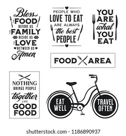 Set of vintage food related typographic quotes. Bless the food before us. Food area zone court sign. Vector vintage grunge style illustration. Kitchen printable design elements.