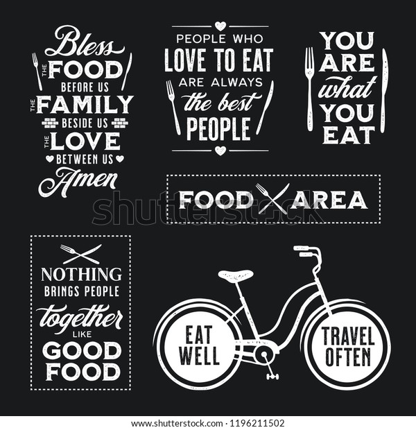 photograph relating to Bless the Food Before Us Printable referred to as Preset Basic Food items Equivalent Typographic Prices Inventory Vector